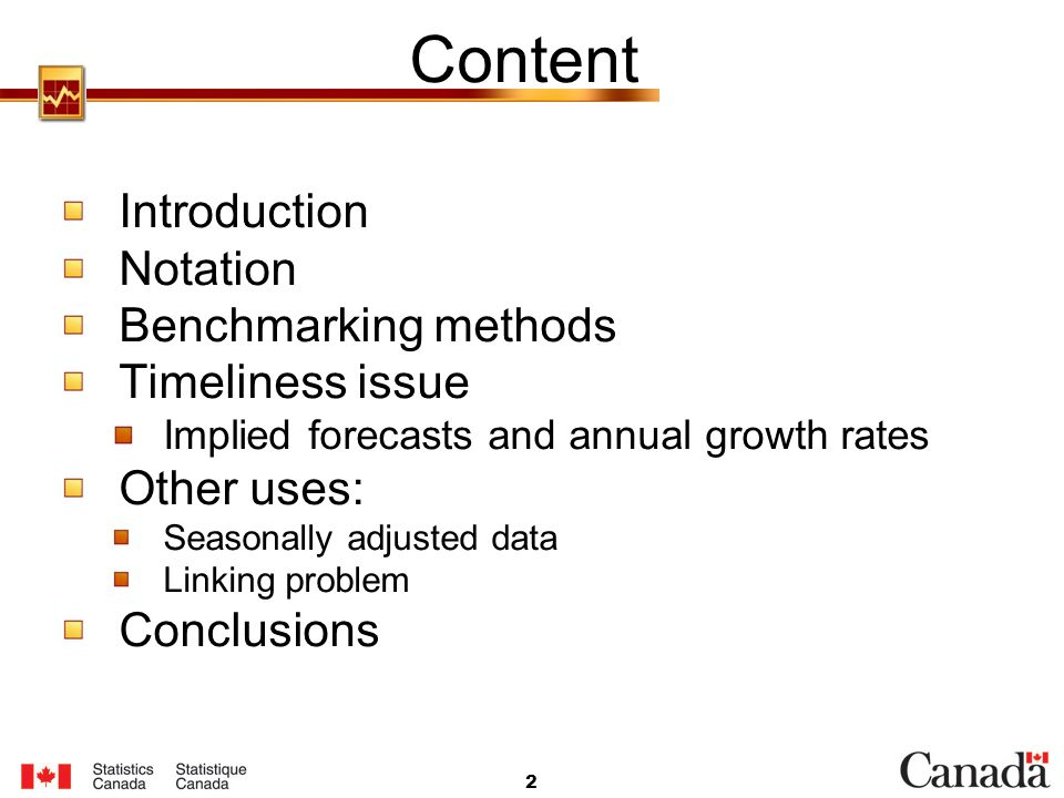 Content Introduction Notation Benchmarking methods Timeliness issue