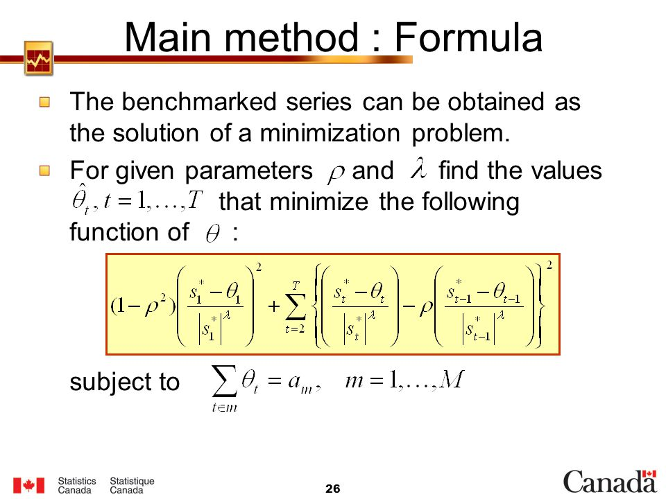 Main method : Formula The benchmarked series can be obtained as the solution of a minimization problem.