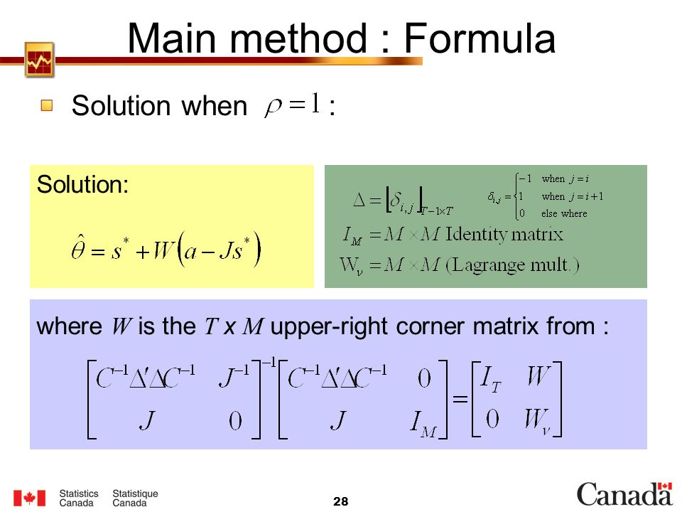 Main method : Formula Solution when : Solution: