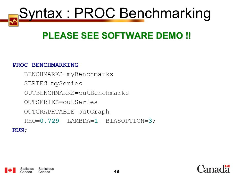 Syntax : PROC Benchmarking