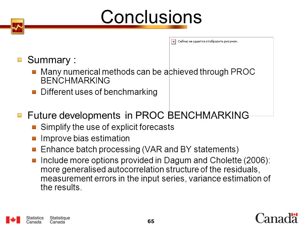 Conclusions Summary : Future developments in PROC BENCHMARKING
