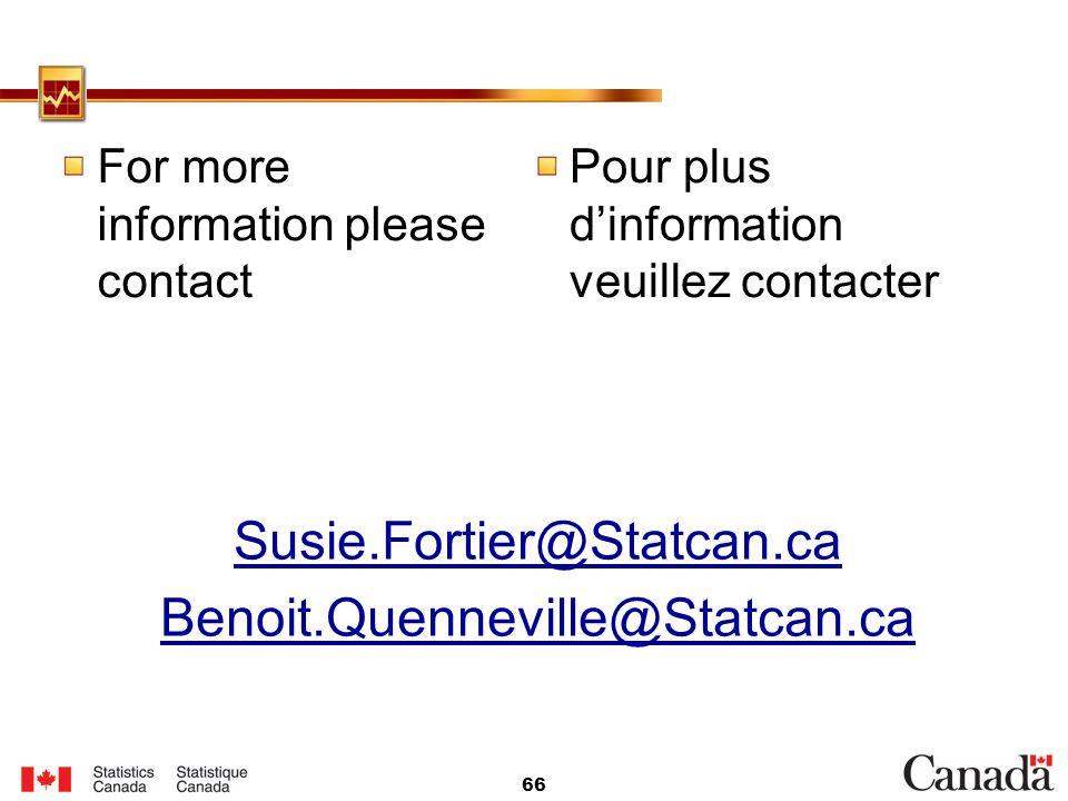 Susie.Fortier@Statcan.ca Benoit.Quenneville@Statcan.ca