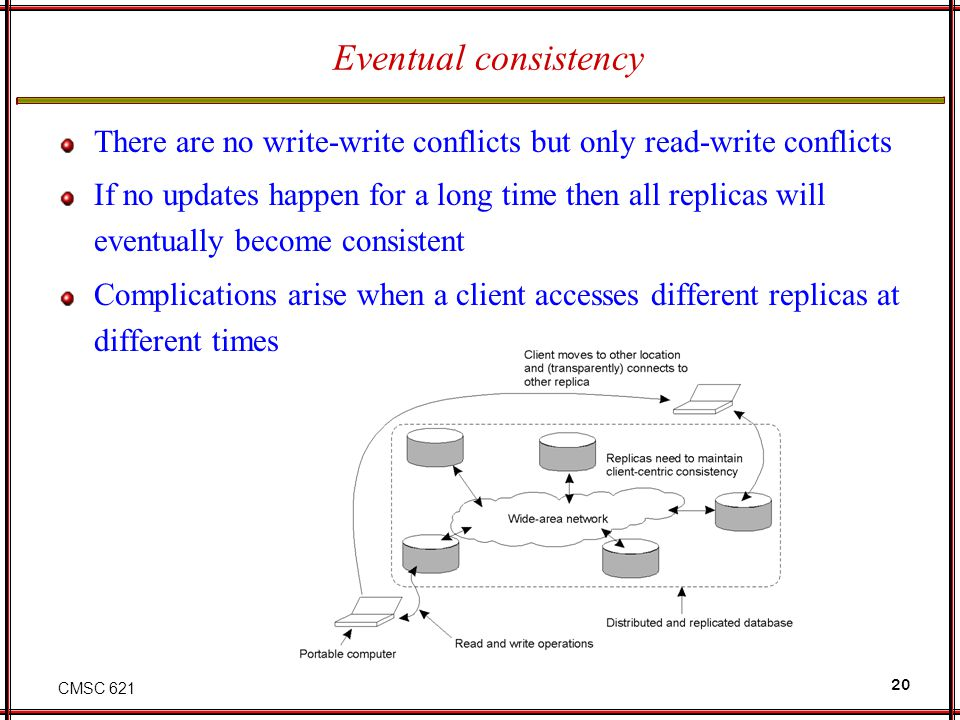 Eventual consistency There are no write-write conflicts but only read-write conflicts.