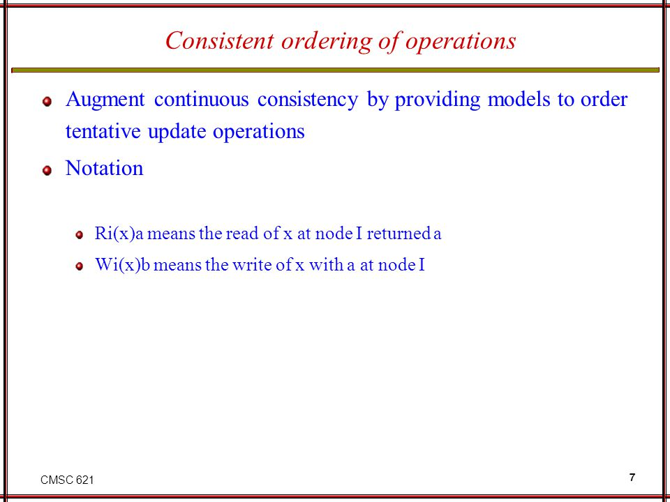 Consistent ordering of operations
