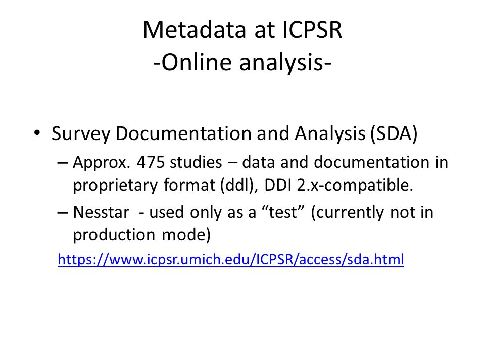 Metadata at ICPSR -Online analysis-