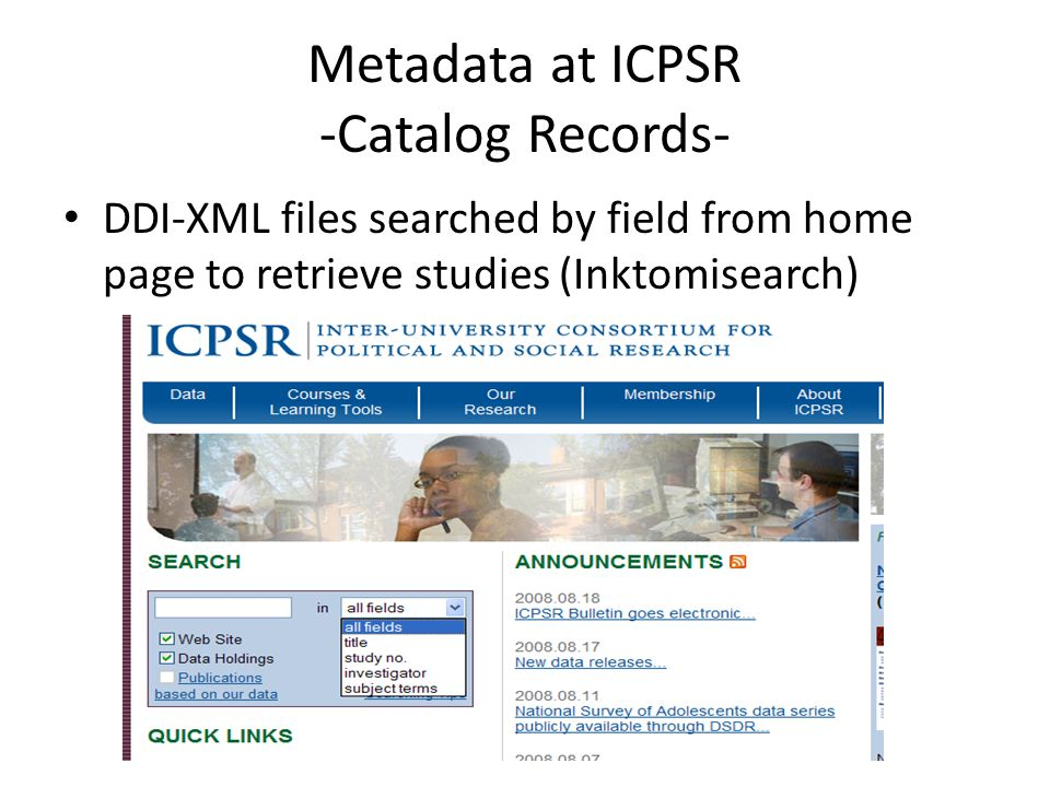 Metadata at ICPSR -Catalog Records-