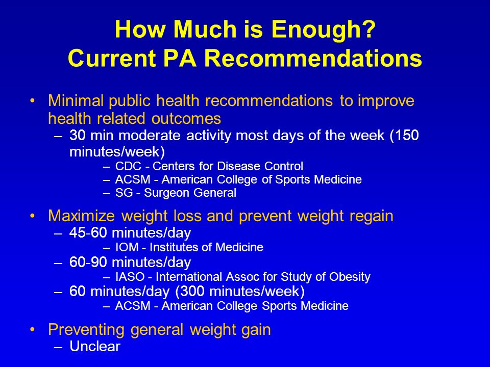 How Much is Enough Current PA Recommendations
