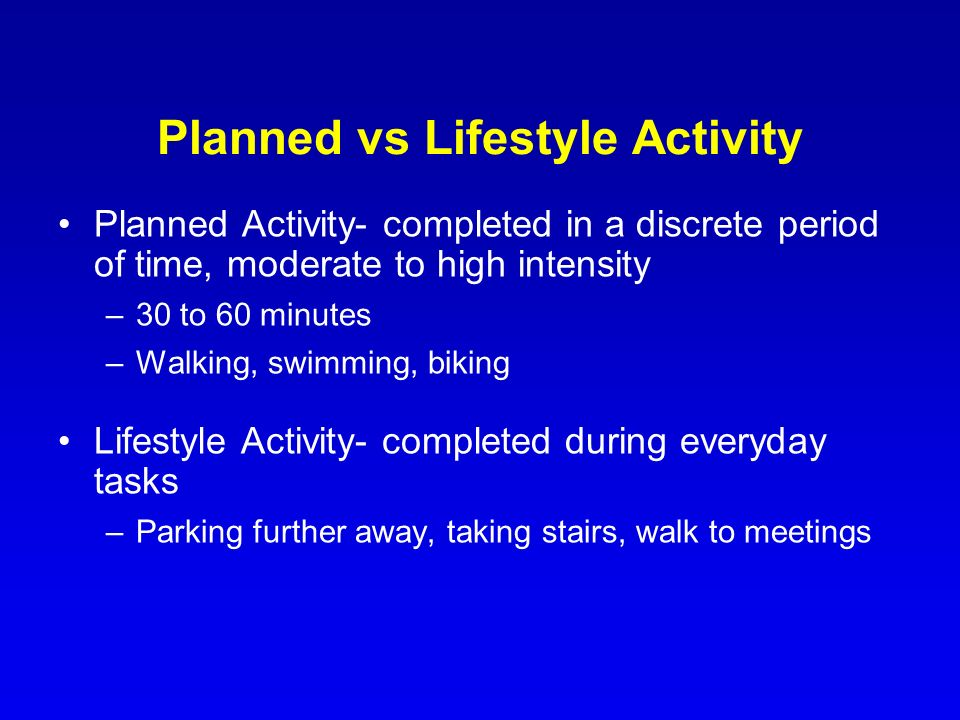 Planned vs Lifestyle Activity