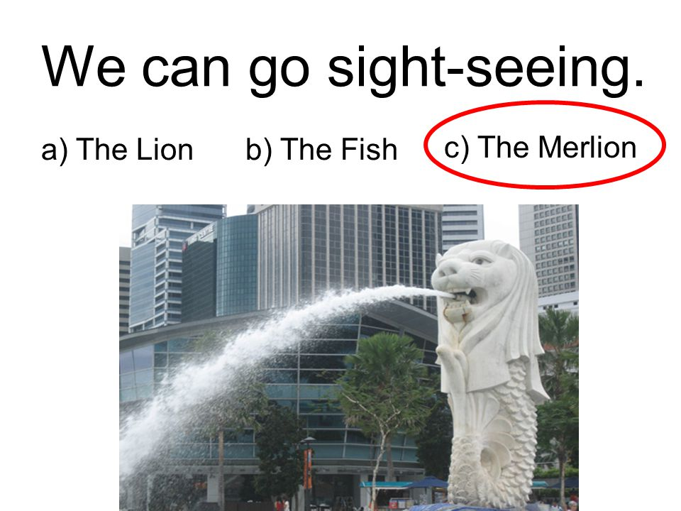 We can go sight-seeing. a) The Lion b) The Fish c) The Merlion