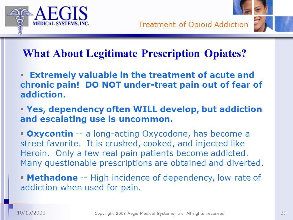 What About Legitimate Prescription Opiates