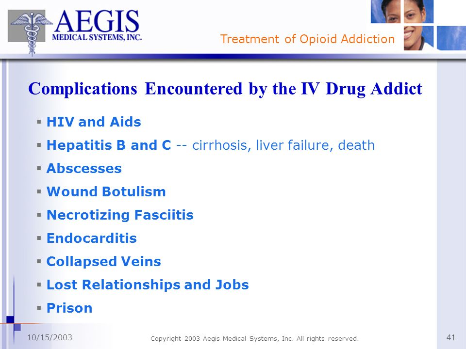 Complications Encountered by the IV Drug Addict