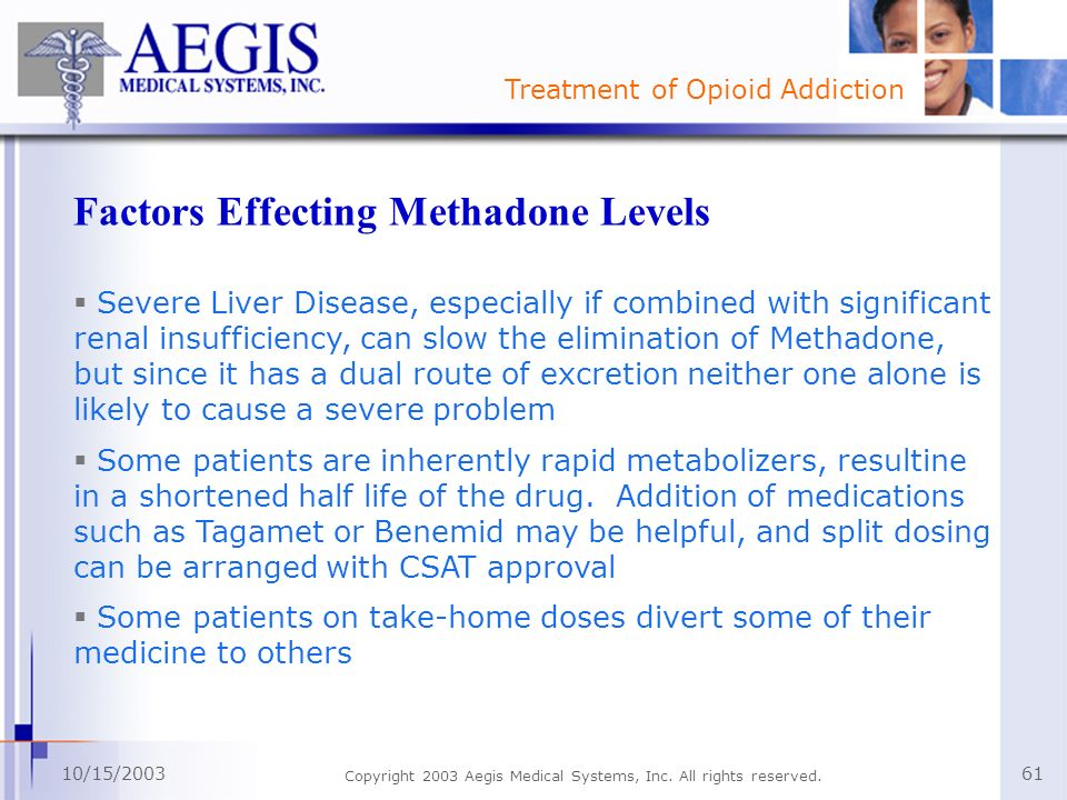 Factors Effecting Methadone Levels