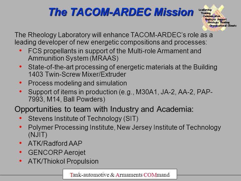 The TACOM-ARDEC Mission