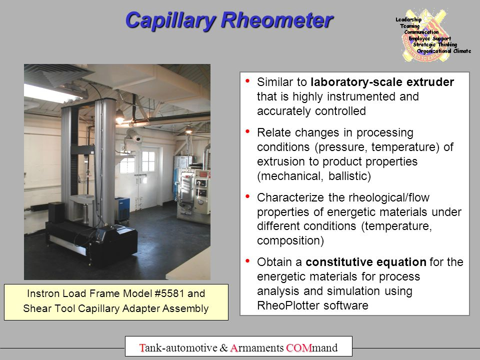 Capillary Rheometer Similar to laboratory-scale extruder that is highly instrumented and accurately controlled.