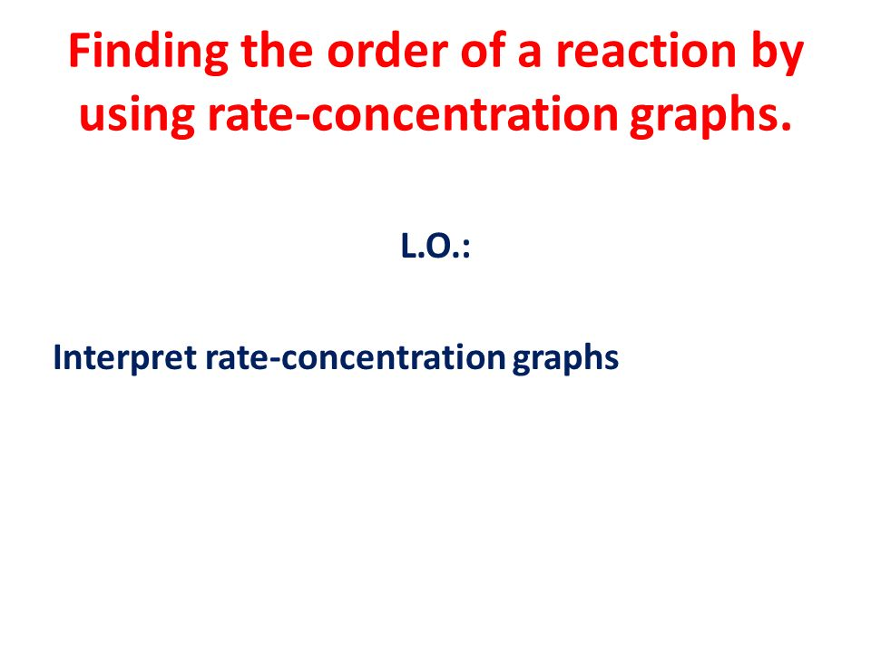 Finding the order of a reaction by using rate-concentration graphs.