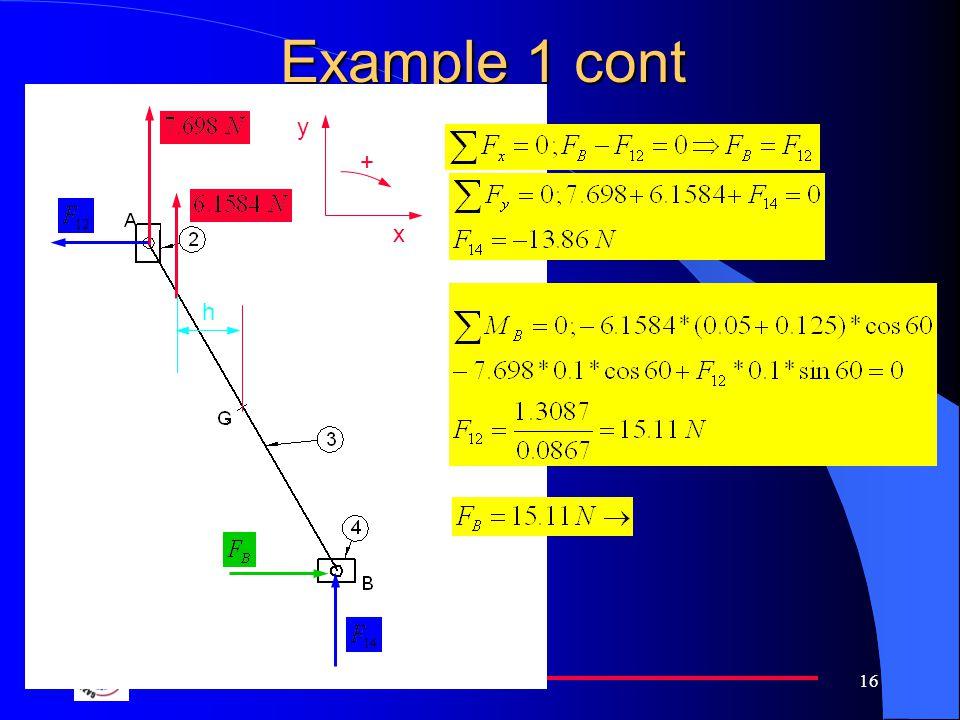 Example 1 cont y + x h