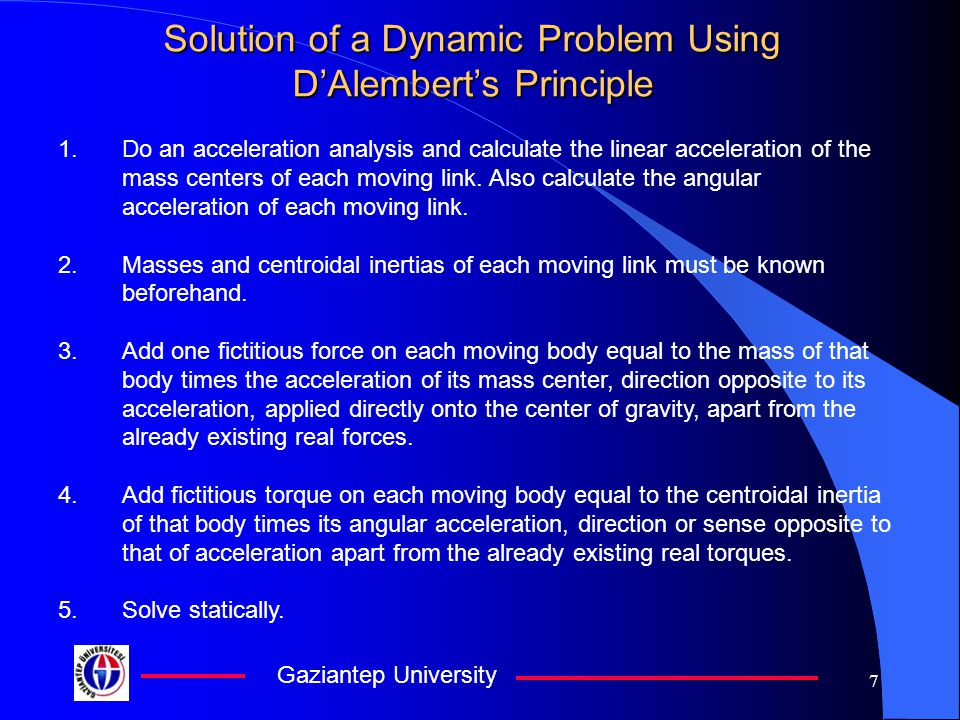 Solution of a Dynamic Problem Using D'Alembert's Principle