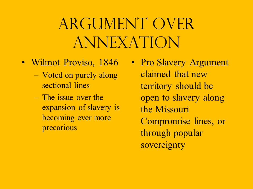 Argument over annexation