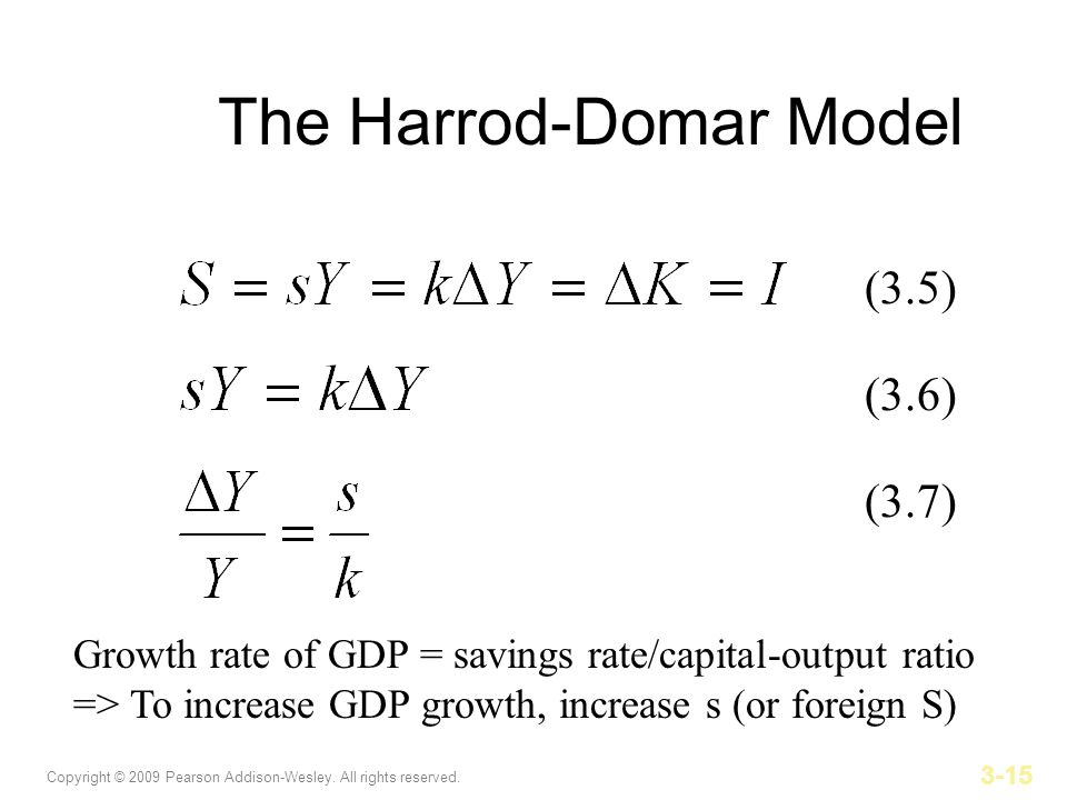the harrod domar model Chapter 3: a first view of capital accumulation and growth the harrod-domar model (ak) the harrod-domar model was the most used in the literature before the.