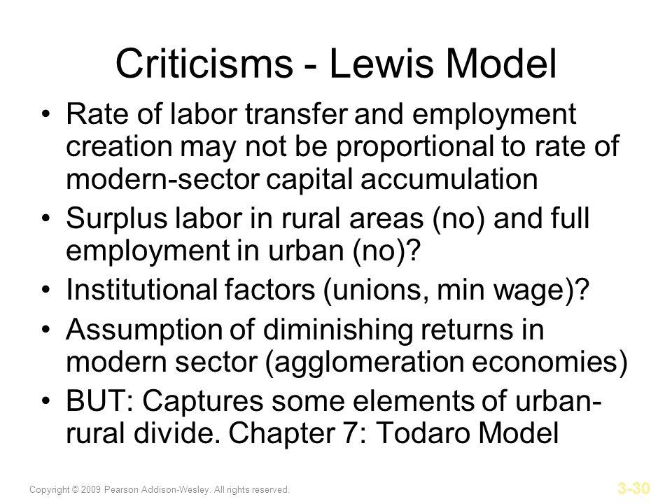 Criticisms - Lewis Model