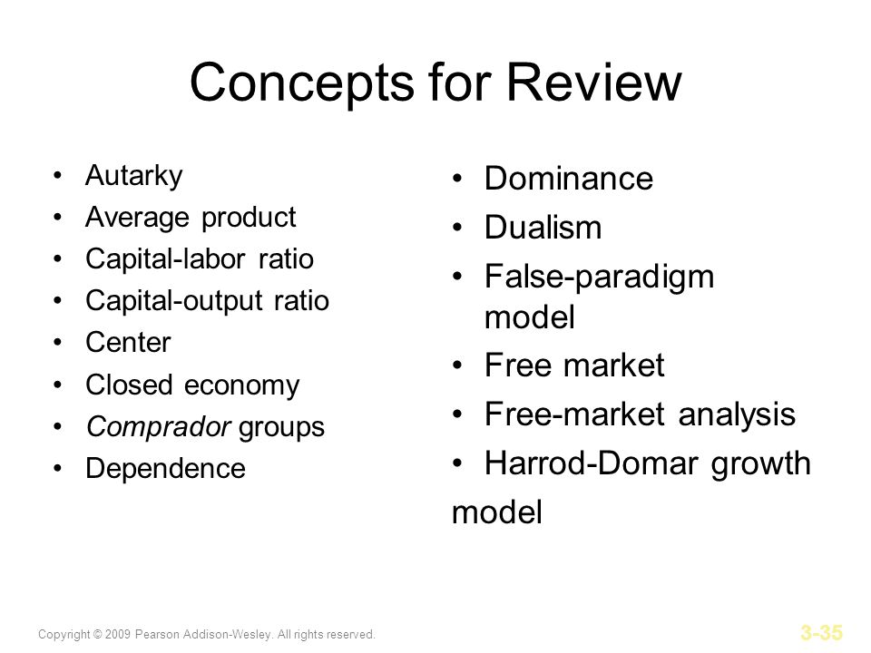 Concepts for Review Dominance Dualism False-paradigm model Free market