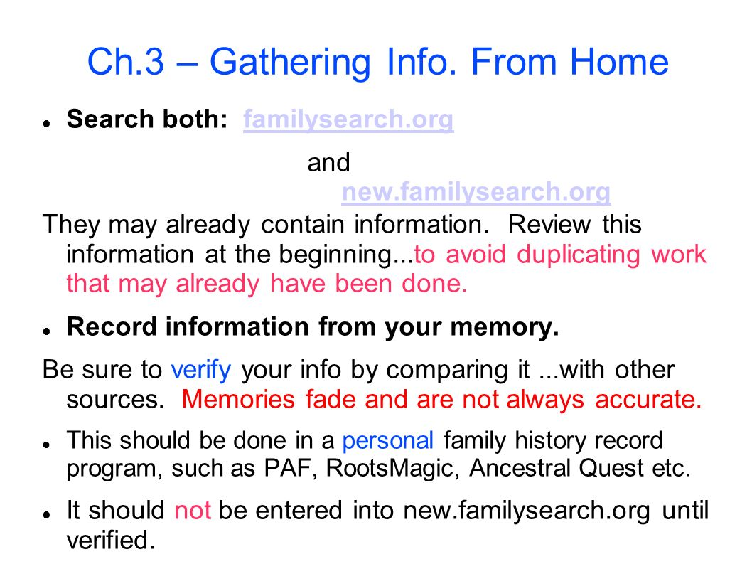 Ch.3 – Gathering Info. From Home