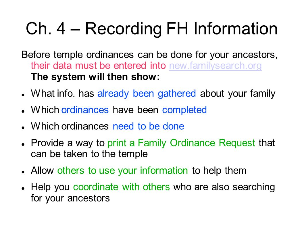 Ch. 4 – Recording FH Information