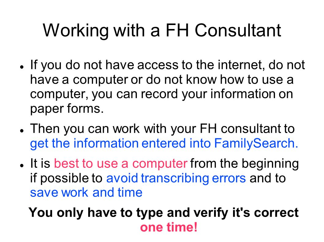Working with a FH Consultant