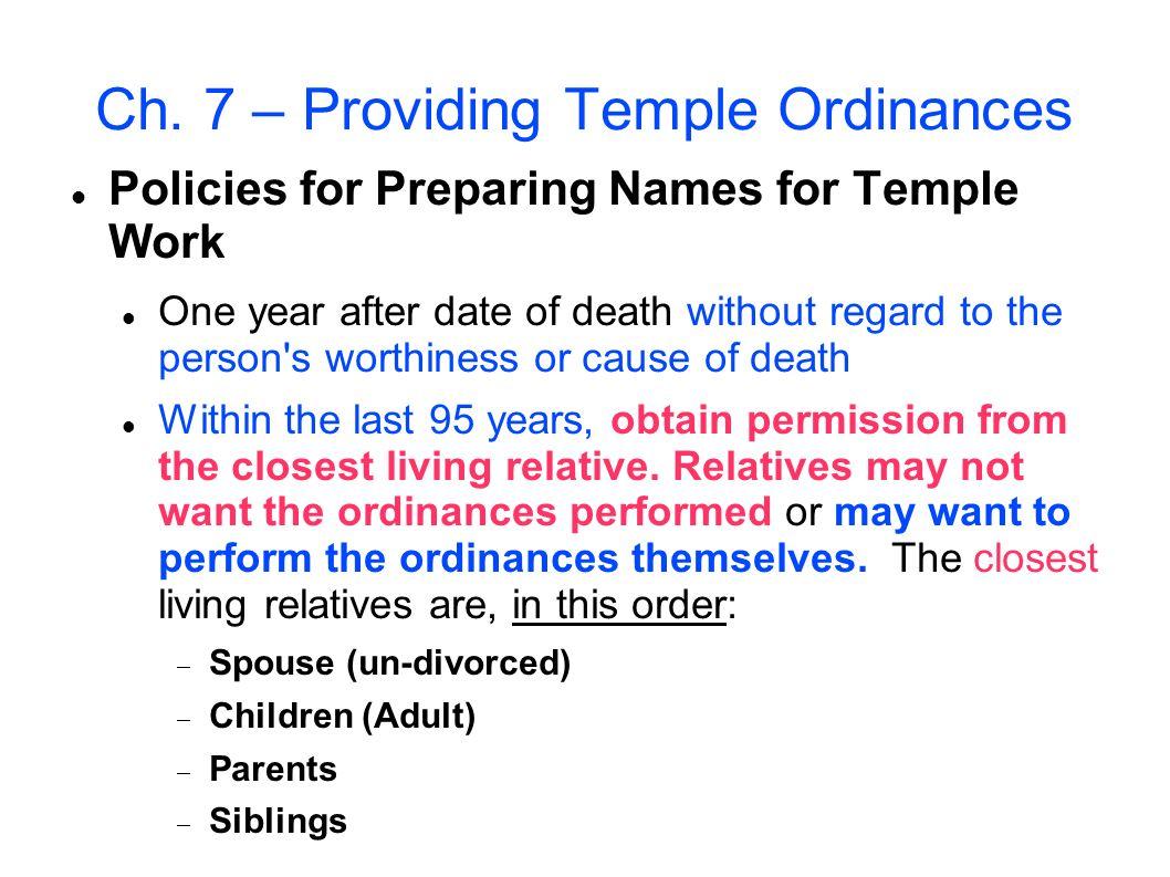 Ch. 7 – Providing Temple Ordinances