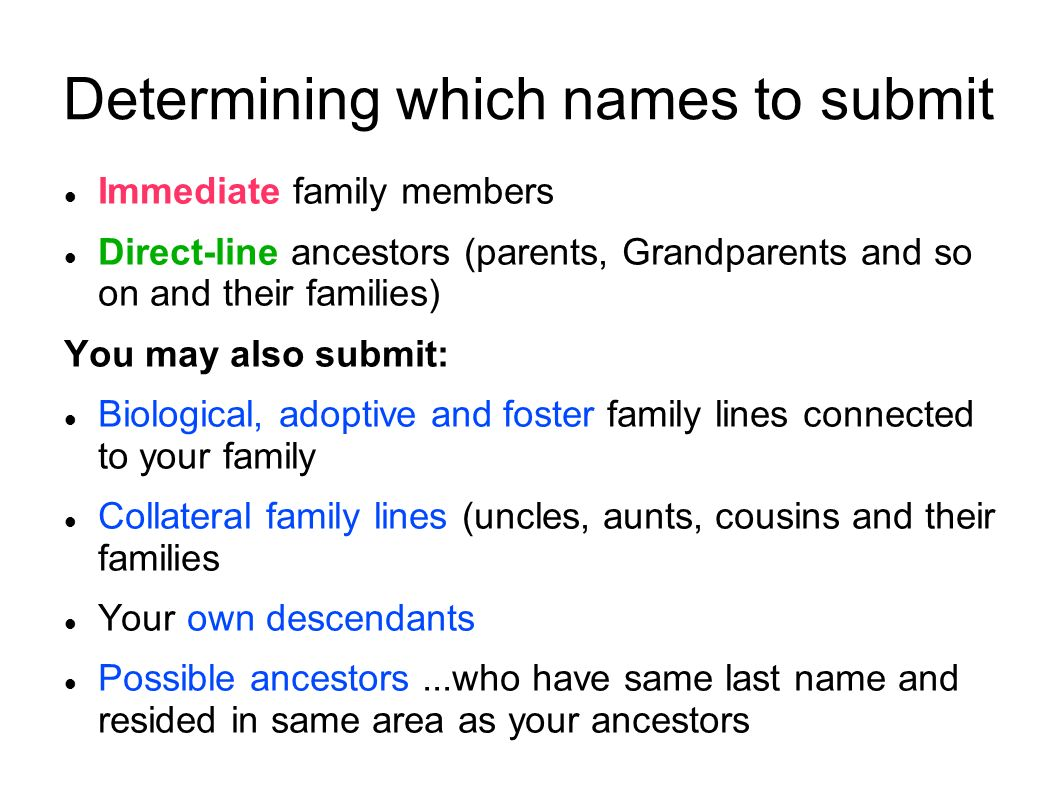 Determining which names to submit