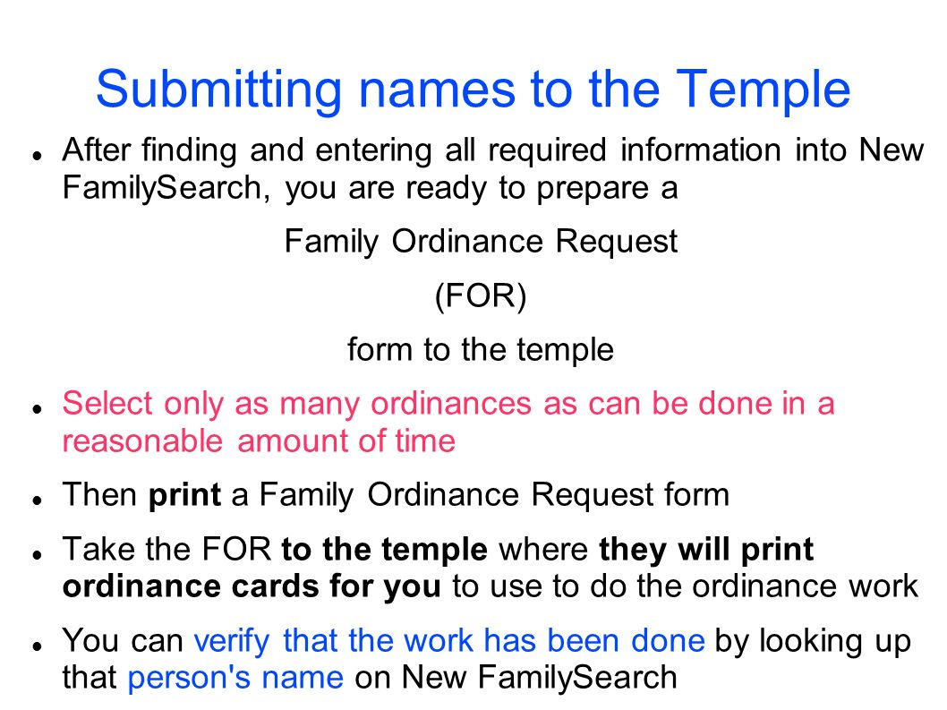 Submitting names to the Temple