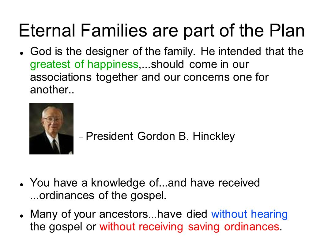 Eternal Families are part of the Plan