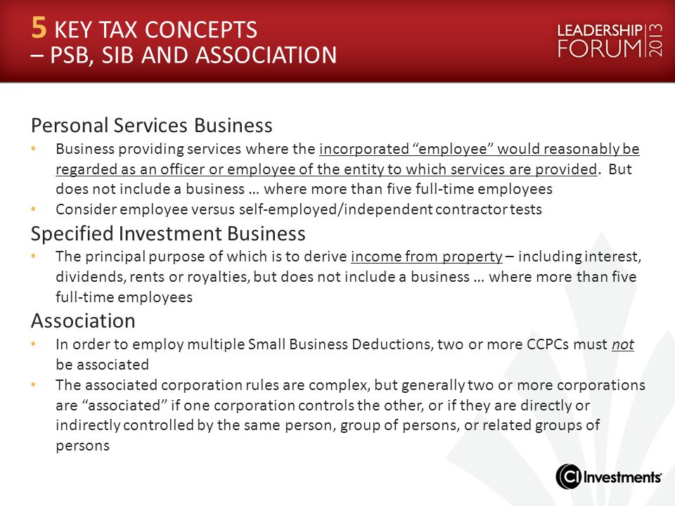5 KEY TAX CONCEPTS – PSB, SIB AND ASSOCIATION