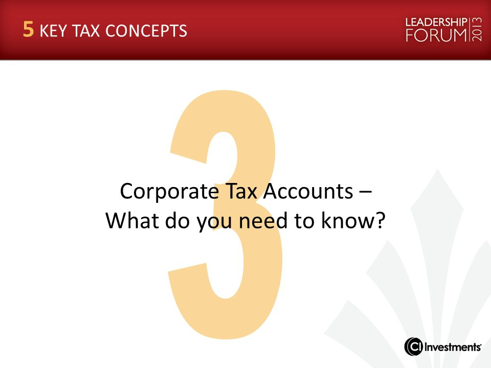 Corporate Tax Accounts –