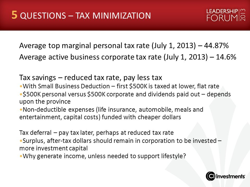 5 QUESTIONS – TAX MINIMIZATION