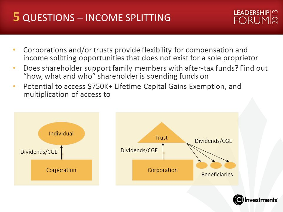 5 QUESTIONS – INCOME SPLITTING