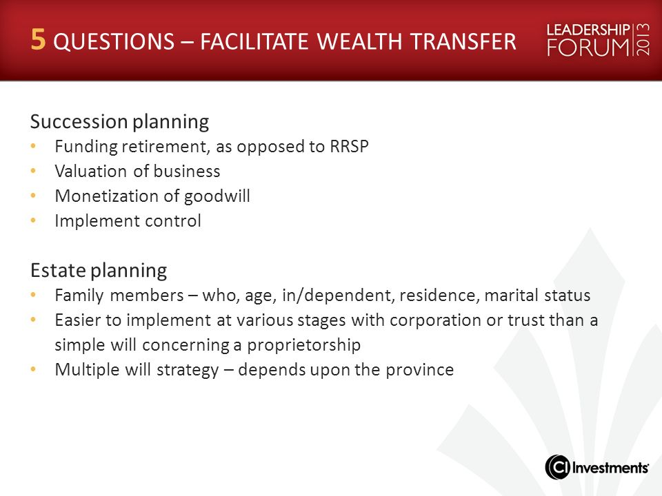5 QUESTIONS – FACILITATE WEALTH TRANSFER