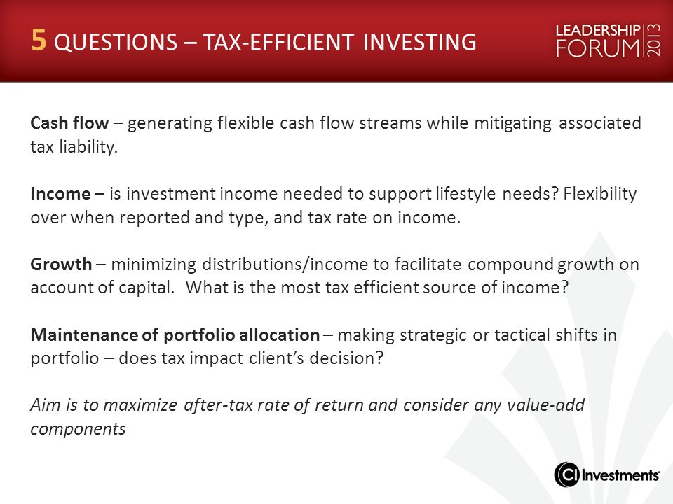 5 QUESTIONS – TAX-EFFICIENT INVESTING