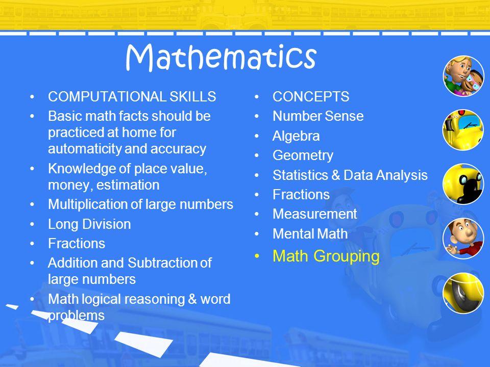 Mathematics Math Grouping COMPUTATIONAL SKILLS