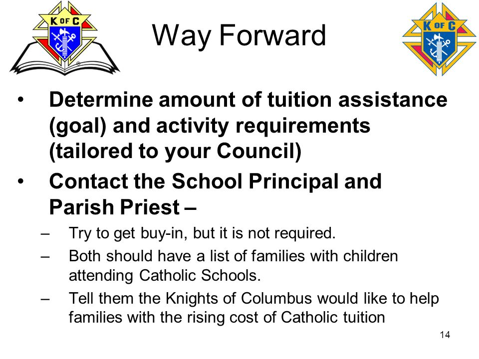 Way Forward Determine amount of tuition assistance (goal) and activity requirements (tailored to your Council)