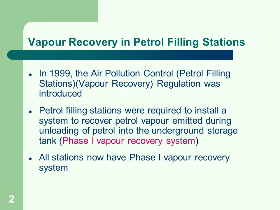 Vapour Recovery in Petrol Filling Stations