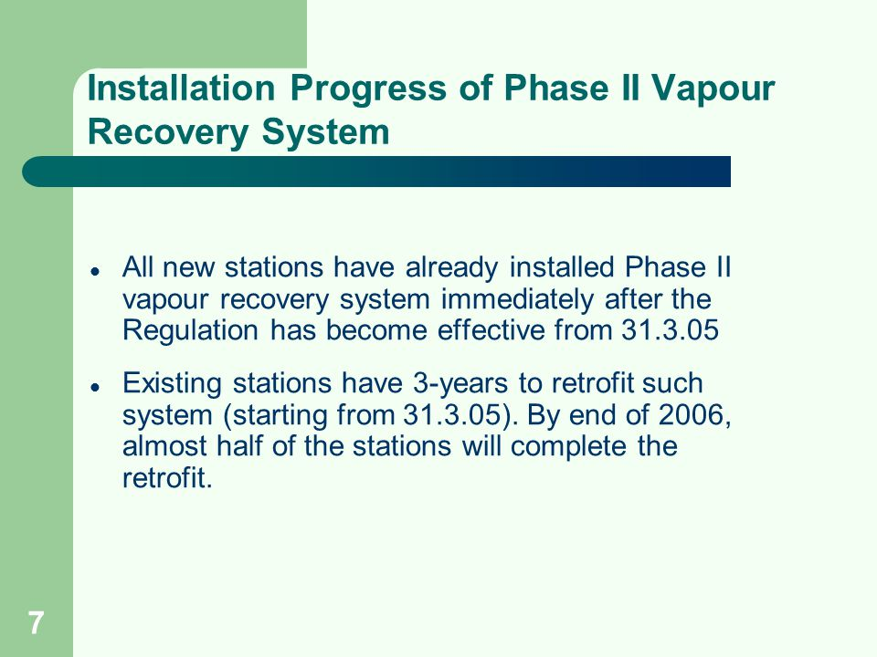 Installation Progress of Phase II Vapour Recovery System