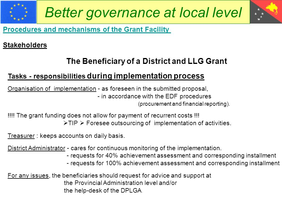 Better governance at local level