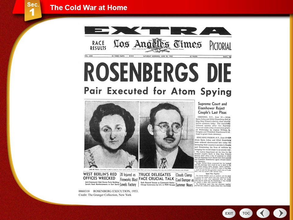 The Cold War at Home Rosenberg newspaper photo, HSUS SE pg. 873