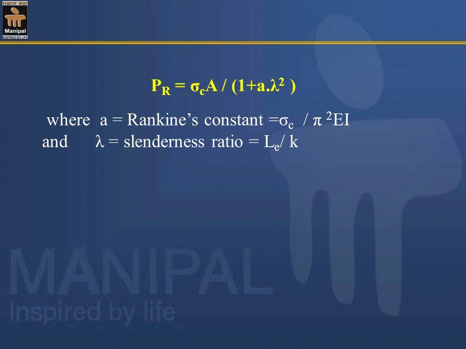 PR = σcA / (1+a.λ2 ) where a = Rankine's constant =σc / π 2EI.