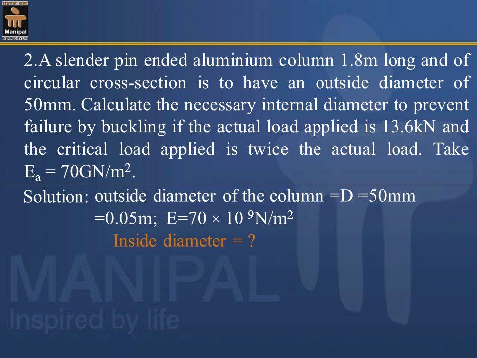 2. A slender pin ended aluminium column 1