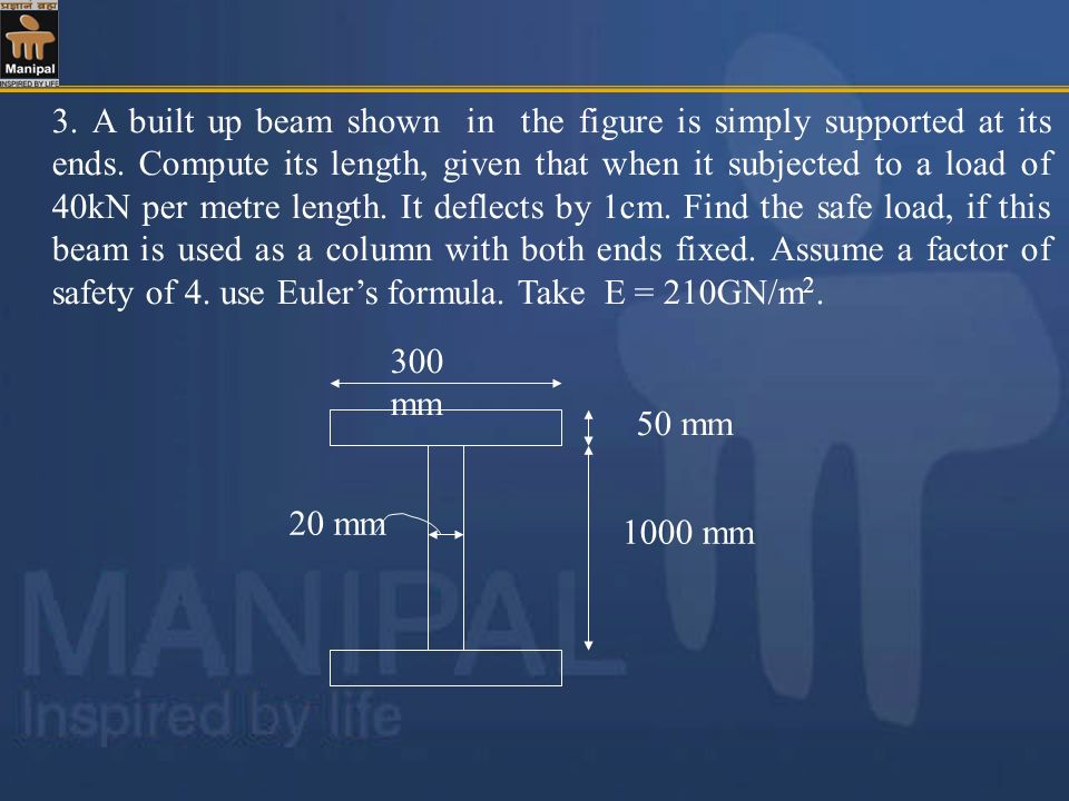 3. A built up beam shown in the figure is simply supported at its ends