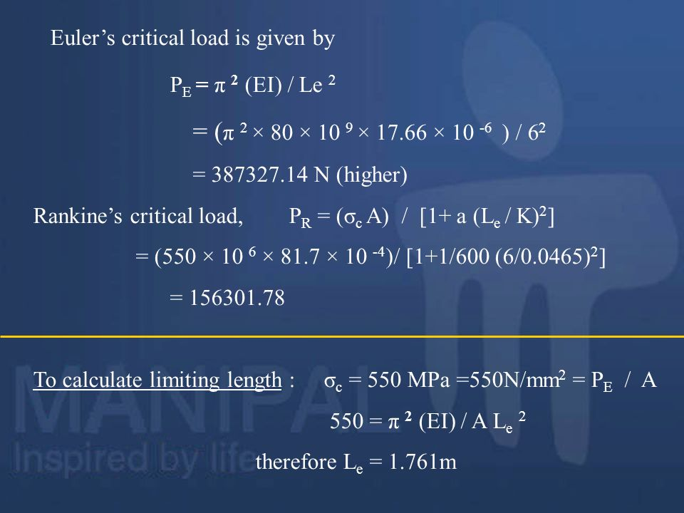 Euler's critical load is given by