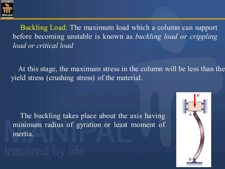 Buckling Load: The maximum load which a column can support before becoming unstable is known as buckling load or crippling load or critical load
