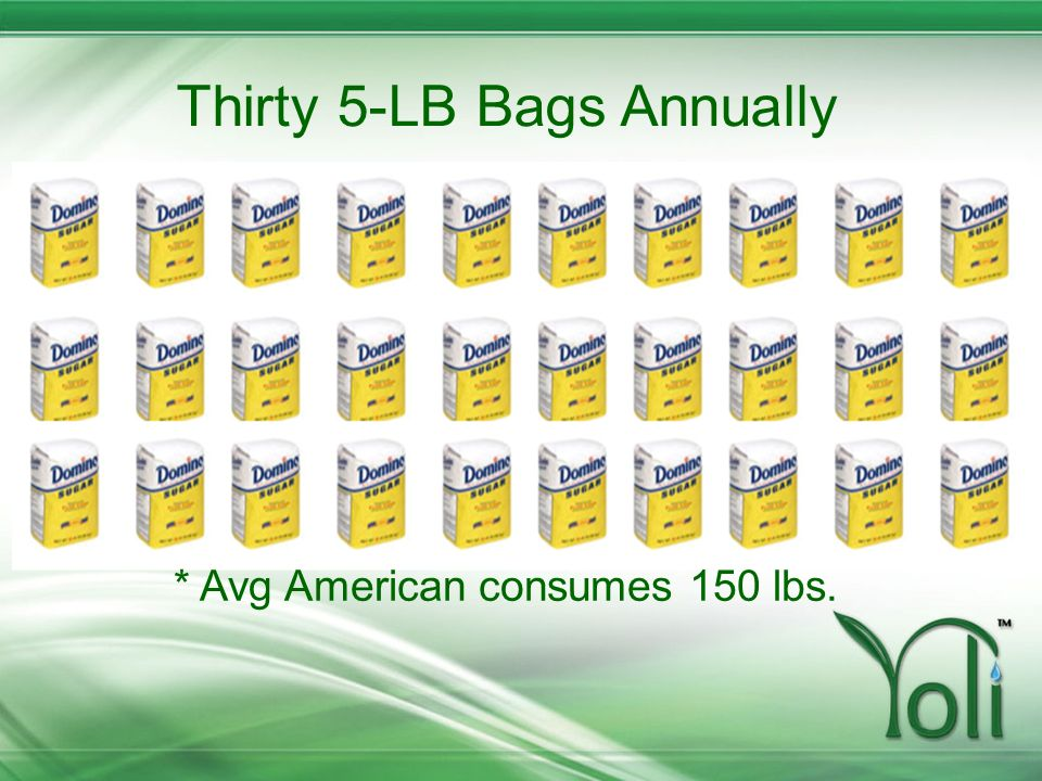 Thirty 5-LB Bags Annually